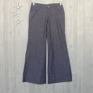Flying Tomato Pants Wide Flare Leg Blue Size Small